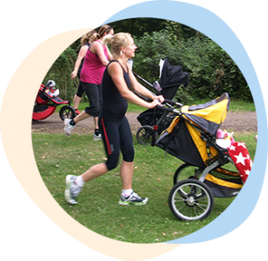 Postnatal outdoor fitness class with pushchairs