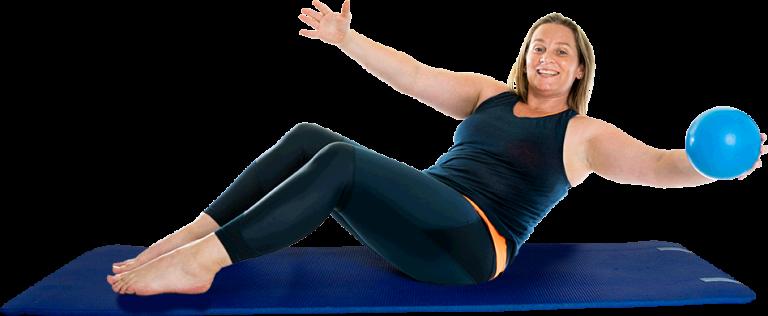 Sarah on mat with ball